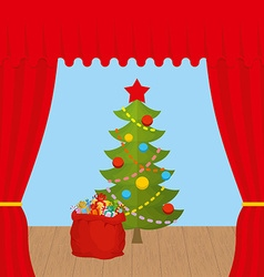 Christmas Scene and red curtain Holiday scene vector image