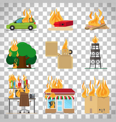 fire safety infographic on transparent background vector image vector image