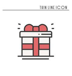 gift box with ribbon icon present giftbox new vector image