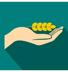 Hand holding wheat ear icon flat style vector image