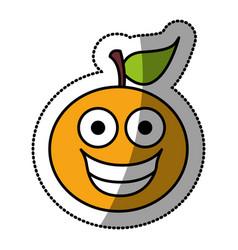 kawaii fruit orange happy icon vector image vector image