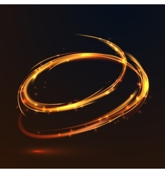 Glowing fire gold circle light effect on black vector image
