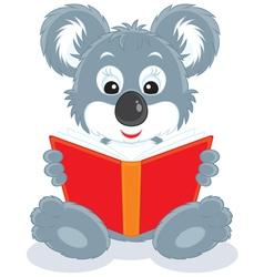 koala cub reading a book vector image
