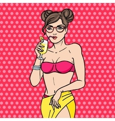 Pop art young girl in glasses drink cocktail vector image vector image