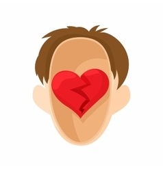 Red heart in the head icon in cartoon style vector image vector image