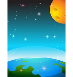 Space scene with earth and moon vector