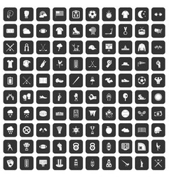 100 baseball icons set black vector