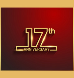 17 anniversary line style golden color vector