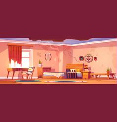 Abandoned bohemian bedroom empty boho interior vector