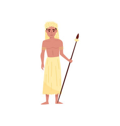 Aborigine warrior character with spear in vector