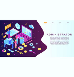 Admin concept banner isometric style vector