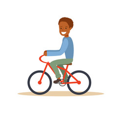 african american boy riding a bicycle vector image