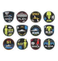 alien zone ufo area or space shuttles retro icons vector image