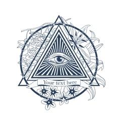 All seeing eye tattoo masonic symbol vector