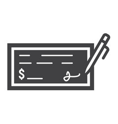 bank check glyph icon business and finance pen vector image