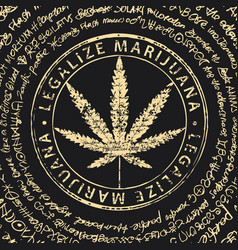 Banner for legalize marijuana with cannabis leaf vector