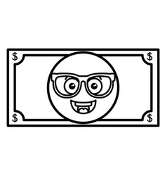 Bills dollars with glasses kawaii character vector