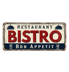 Bistro vintage rusty metal sign vector