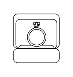 Box ring wedding symbol outline vector