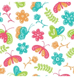 Buterfly and flowers seamless pattern vector