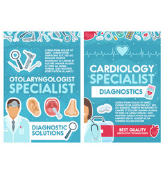 Cardiology and otolaryngology doctors vector