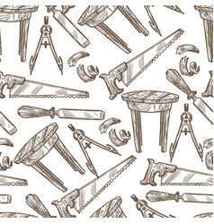 carpentry tools and instruments saw and table vector image