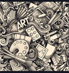 cartoon cute doodles hand drawn artist seamless vector image