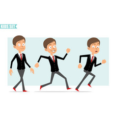 Cartoon flat business kid boy character set vector