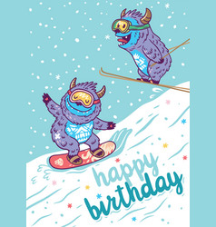 Cartoon yetis skiing and lettering happy birthday vector