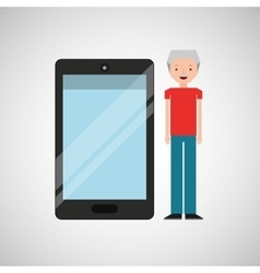 Character man senior with smartphone shiny layer vector