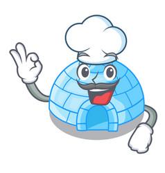 Chef cartoon dome igloo ice house snow vector