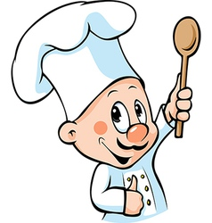 Chef hold wooden spoon vector