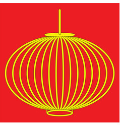 Chinese style lantern in yellow with black stroke vector
