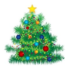 Christmas decorated tree on white background vector image