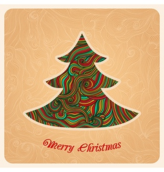 Christmas tree greeting card in Christmas theme vector