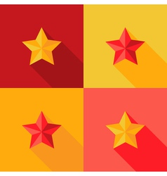 Christmas Yellow and Red Star Flat Set Icon vector image