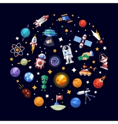 Circle flat design composition of space icons and vector image