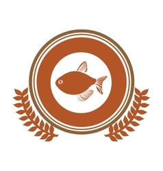 Circular stamp border with crown branch with fish vector