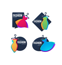 Collection of fashion show logo label emblems vector