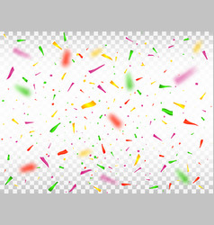 colorful confetti pieces on transparent background vector image