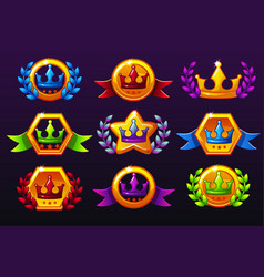 Coloured templates crown icons for awards vector