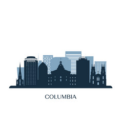 columbia skyline monochrome silhouette vector image