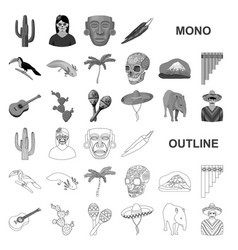 country mexico monochrom icons in set collection vector image