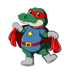 crocodile with super heroes holding red vector image