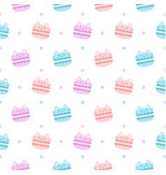 cute cat macaron dessert seamless pattern vector image