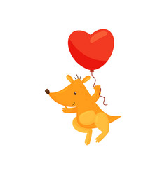 cute kangaroo holding red heart shaped balloon vector image