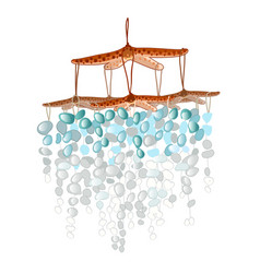 Decor of starfish with polished turquoise stones vector