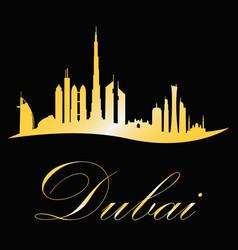 dubai cityscape sulouette in gold design vector image