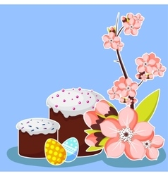 Easter greeting card template with apricot blossom vector image