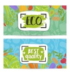 Eco products horizontal flyers set vector